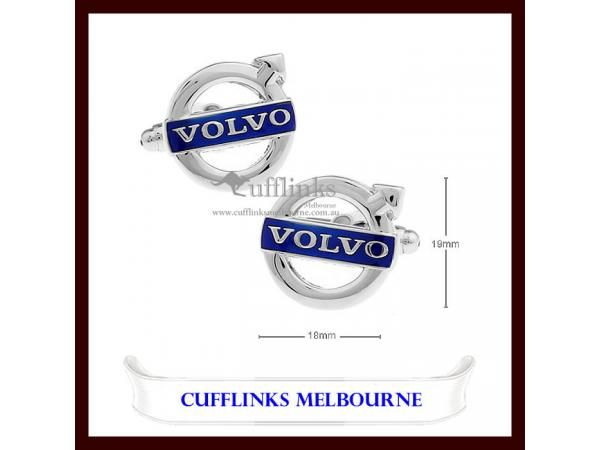 Blue and Silver Car Logo - Mens Shirt Silver and Blue Plated VOLVO Car Logo Novelty Cufflinks