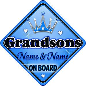 Blue and Silver Car Logo - Personalised Baby On Board Car Sign Blue ~ Silver Grandsons New ...