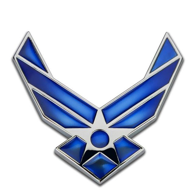 Blue and Silver Car Logo - USAF U.S. Air Force Blue Silver Chrome Metal Car Styling Emblem Arm ...