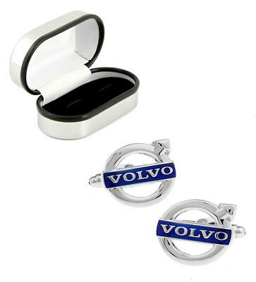 Blue and Silver Car Logo - SILVER AND BLUE Volvo Car Logo Cufflinks With Chrome Box Mens ...
