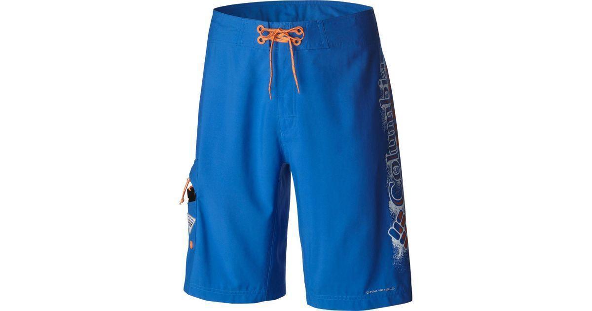 63a5e38234c Columbia PFG Logo - Lyst - Columbia Pfg Logo Board Shorts in Blue for Men
