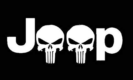 Jeep Logo - Amazon.com: Jeep Logo w/ Punisher Skull PREMIUM Decal 5 inch Whtie ...