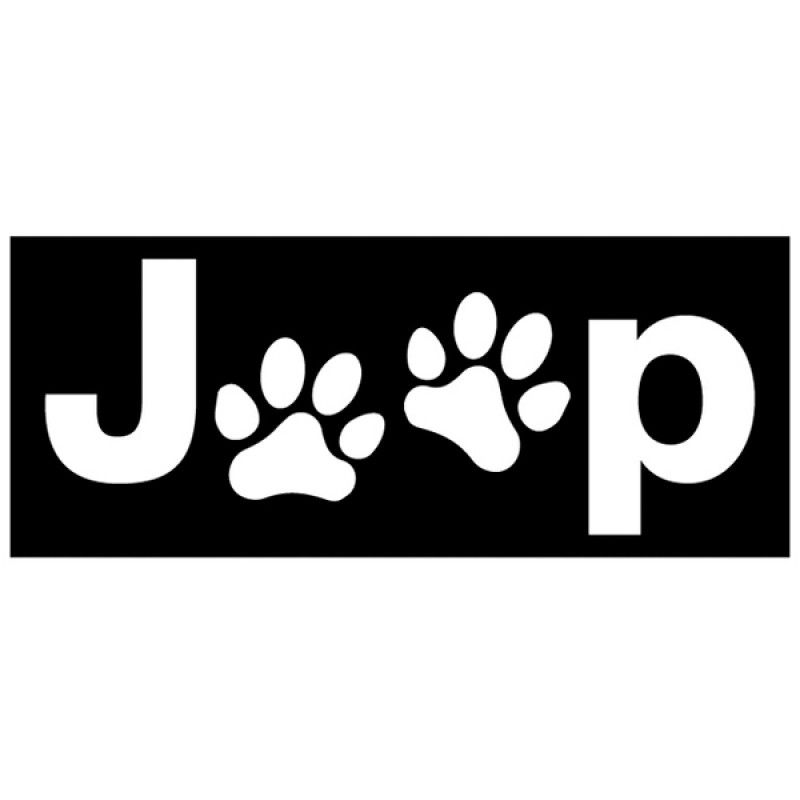 Jeep Logo - Decal with Jeep Dog Paw Logo - White