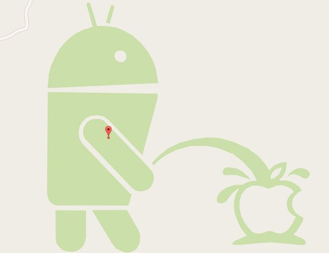 Android Logo - Android bot spotted peeing on Apple logo on Google Maps - Technology ...