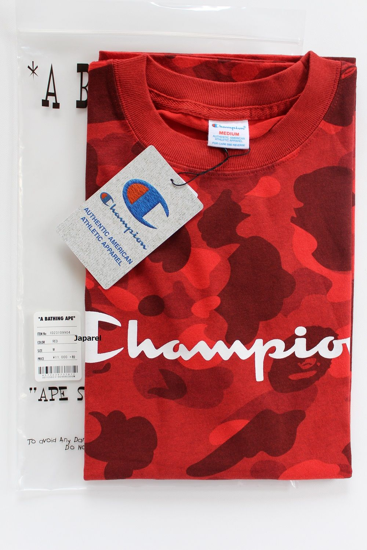 db29892aab2c Red Camo BAPE Ape Logo - A Bathing Ape (Bape) Bape X Champion Tee