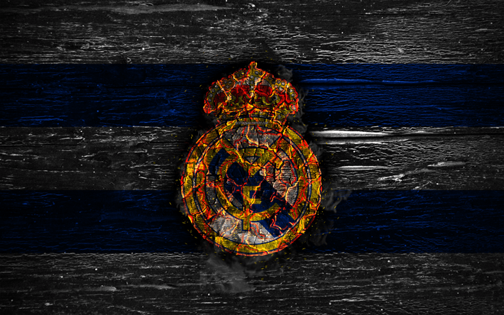 White and Blue Lines Logo - Download wallpapers Real Madrid FC, fire logo, LaLiga, white and ...