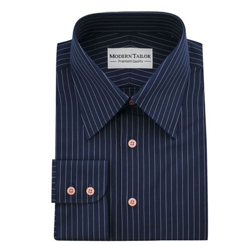White and Blue Lines Logo - Modern Tailor | #o275 Dark blue with white lines dress shirts