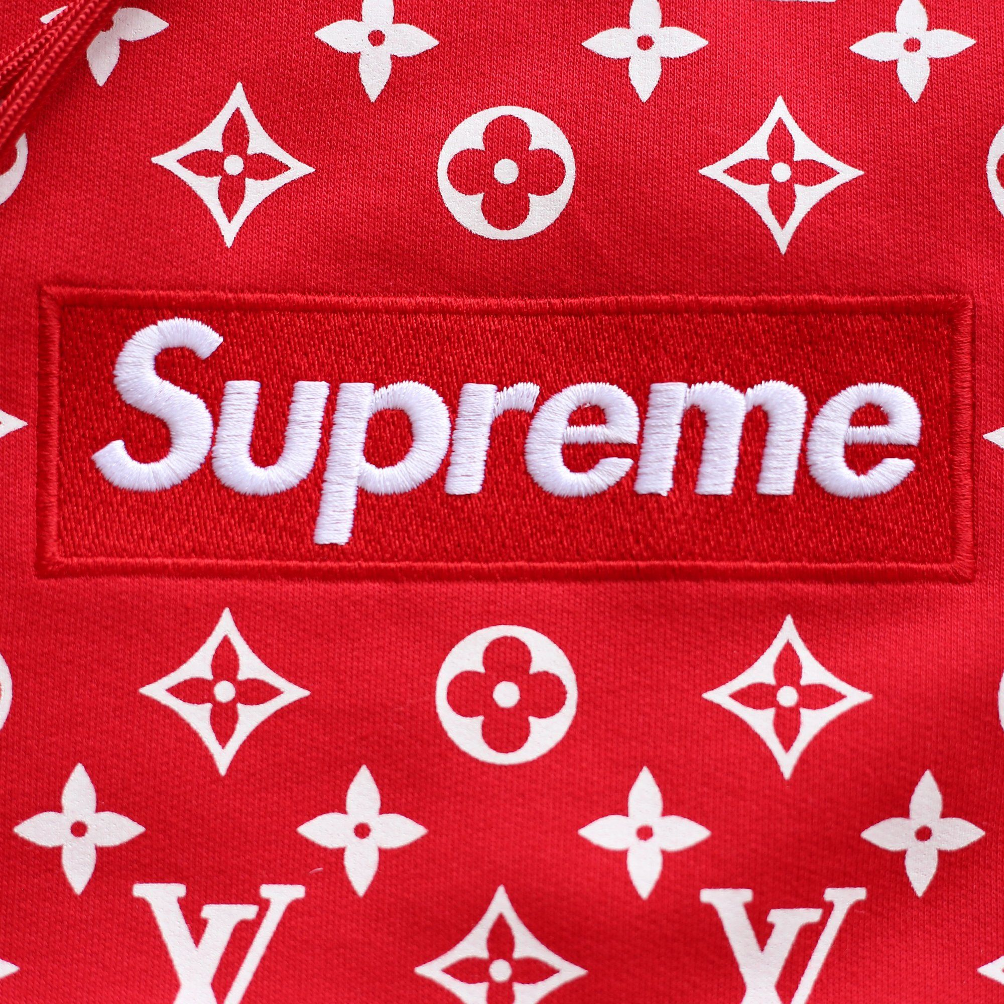Supreme Logo - Louis Vuitton | Supreme Logo Box Hoodie Monogram | Red - The-Collectory