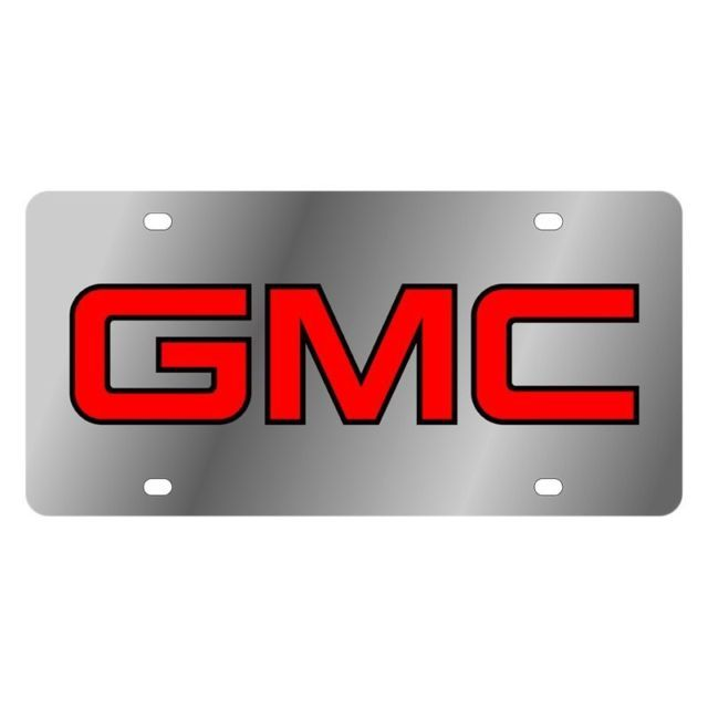 GMC Logo - EuroSport Daytona Black GMC Logo on Stainless Steel License Plate | eBay