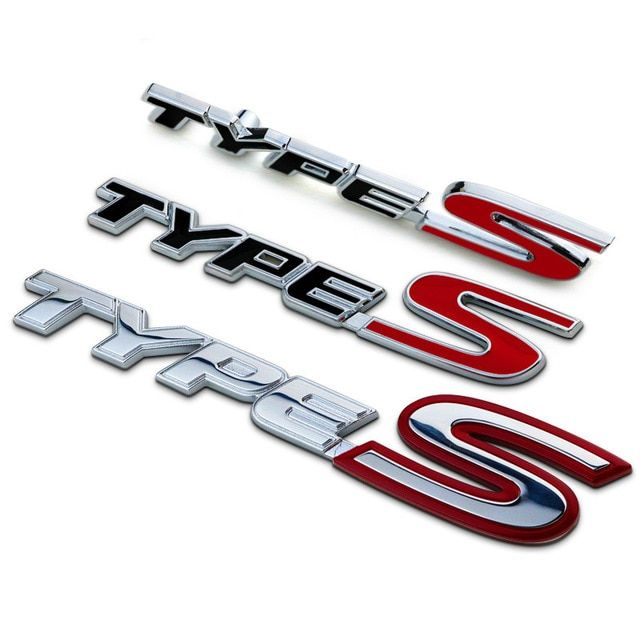 Red and Silver S Car Logo - New Silver Red Chrome Metal Zinc TYPE S Car Styling Refitting Trunk ...