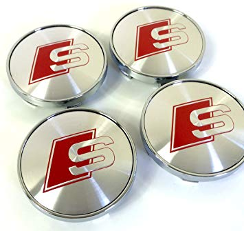 Red and Silver S Car Logo - Set of four center alloy wheels hubcaps S line with red logo and ...