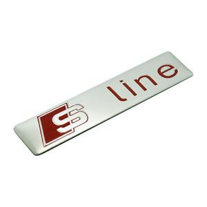 Red and Silver S Car Logo - 1 Pcs S Line Car Silver Red Alloy Badge Sticker Emblem Universal All ...