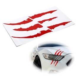 Red and Silver S Car Logo - Reflective Headlight Eye Scar or Claw Scratch Shape Vinyl Decal