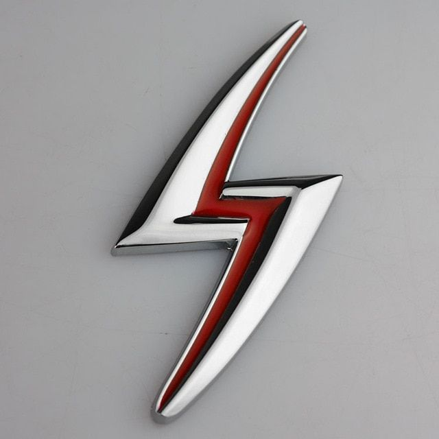 Red and Silver S Car Logo - 1 PCS 3D chrome Silver Red Lightning S Emblem Badge Flash ABS ...